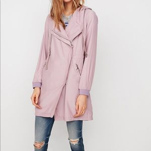Express S Parka Draped front hooded purple NWT